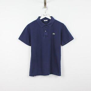 M8 Vtg Lacoste Polo Mens Blue Short Sleeve Cotton Shirt Slim Fit Size 3 S