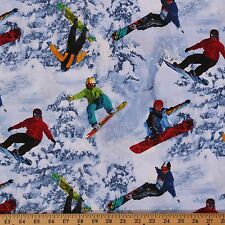 Extreme Sports Snowboarding Snow Winter Cotton Fabric Print by Yard D463.20