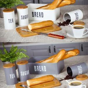 Bread Holder Bin Box Vintage Design Home Kitchen Storage Container Metal & Wood