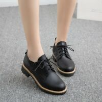 Women Lace up Oxford Shoes Pumps Flat Heel Brouge Shoes Casual Round Toe Low Top