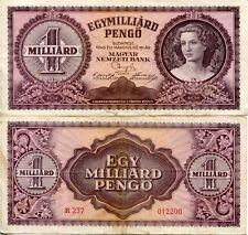 Banknote 1946 Republic Hungary Hungarian 1000000000 Pengo Tildy 1 billion