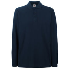 Fruit of The Loom Ss258 Mens Premium Long Sleeves Polo Tshirt Casual T-shirt Top Deep Navy 3xl