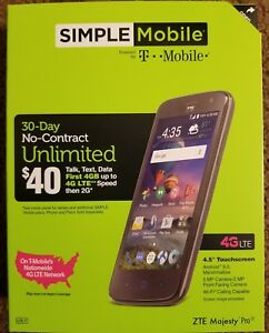 LOT OF ZTE Majesty Simple Mobile NIB with SIM kit and $25 card