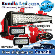 42 inch Curved LED Light bar + 2x 7inch Pods LED Work Light Bar Offroad Truck 40