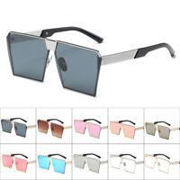 Fashion Women Men Retro Sunglasses Oversize Square Frame Flat Top Glasses