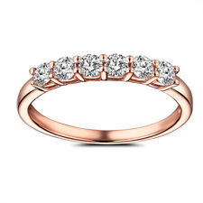 0.43ct Flawless Genuine Moissanite Halo Wedding Bands Solid 14K Rose Gold Ring