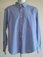 Bugatchi Shaped Fit Flip Cuff Shirt Size Large Uomo Men's Blue Plaid Long Sleeve