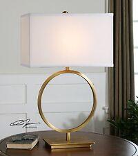 "Modern 29"" Plated Brushed Brass Metal Table Lamp Linen Shade Light Uttermost"
