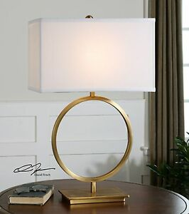 DUARA MID CENTURY MODERN PLATED BRUSHED BRASS METAL TABLE LAMP UTTERMOST