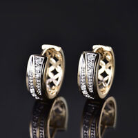 Unique 18K Gold Filled White Topaz Crystal Hoop Huggie Engagement Earrings