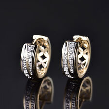 Unique 18K Gold Filled White Topaz Crystal Hoop Huggie Engagement Earrings