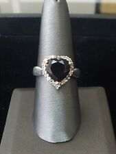 Vintage Sterling Silver and Purple Stone Heart Ring