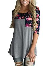 New Womens Gray Floral Print 3/4 Sleeve Pocket Tunic Top Blouse Large FREE SHIP