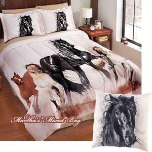 3-4pc's Wild HORSES Running Western Theme Comforter Set+TOSS PILLOW K/Q/F/T Size