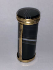 More details for stunning antique cylindrical banded agate & gilt metal snuff box / vesta case