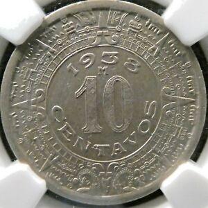 1938 Mexico 10 Centavos NGC AU 58 KM 432 (M411)