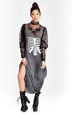 Wildfox Inside Out Gray Skeleton Grunge Punk Maxi Dress XS