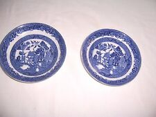 Vintage Lot of 2 Saucers Blue Willow Ware England Xlnt