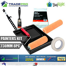 """Paint Roller Kit 8pc 230mm 9"""" and Brush Masking Tape Tray Stirrer Rollers Covers"""