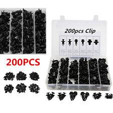 200Pcs Car Body/Bumper Push Pin Rivet Retainer Trim Moulding Fastener Kits Black
