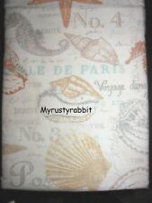 "Sea Life Fabric Shower Curtain 72"" x 72"" Beach Ocean Shells - Coastal Collection"