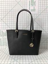 Michael Kors Jet Set Travel Medium Carry All Black Saffiano Leather Tote
