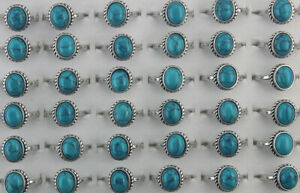 60pcs Lady Jewelry Wholesale Mixed Lots Blue Natural Stone Adjustable Rings