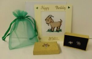 Goat theme gift set - Goat drop earrings in box & bag with Happy Birthday card