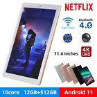 "2021 10.1"" 12+512GB Android 11 WIFI HD Tablet Pad PC GPS Dual Camera Netflix US"