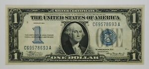 """1934 $1 Small Size Silver Certificate """"Funnyback"""" Currency Banknote"""