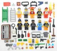 10 NEW LEGO POLICE & FIREMAN MINIFIG LOT cop robbers figures city town people