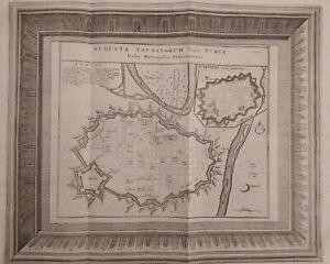 1723 Van der Aa Pianta Topografica Torino Vercelli Augusta Taurinorum Turin