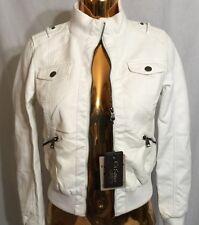 New Ci Sono by Cavalini Women Ivory 100% Vegan Leather Zipper Jacket S