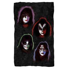 New 36x58 Kiss Faces Rock Band Photo Fleece Throw Gift Blanket Gene Simmons Paul