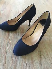 NAVY FAUX SUEDE COURT SHOES