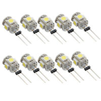 10Pcs White G4 5 SMD LED 5050 RV Marine Boat Camper Car Light Bulb Lamp 12V DC'
