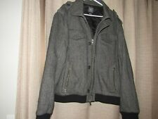 ARMANI EXCHANGE mens XL gray wool cashmere blend coat jacket herringbone EUC