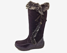 Sporto Waterproof Suede Tall Boot Side Winder Tassel Lace Up Chocolate 11 Med