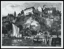 MEERSBURG, Bodensee. Originaler Holzstich ca. 1875