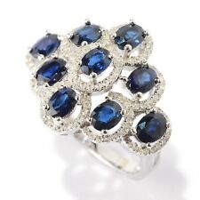 Pinctore Sterling Silver 3ct TGW Oval Sapphire and White Topaz Ring