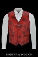 Men's Leather Waistcoat Vest Party Fashion Dirty Red Stylish 100% Leather 5226
