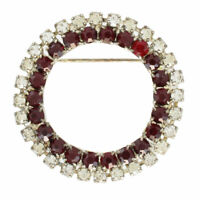 Vintage Ruby Red Clear Rhinestone Circle Wreath Pin Brooch