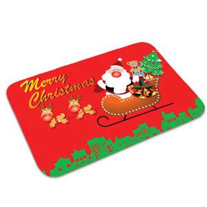 Christmas Santa Claus Snowman Printing Bathroom Mat Shower Water Absorbent Decor