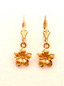 14K Solid Rose Gold Hawaiian Plumeria Flower Earring W: 9 mm L: 25 mm E2512.7-1
