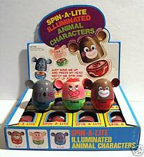 1960 Spin A Lite Wind Up Battery Toy Display Old Stock