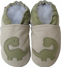 carozoo dinosaur cream 12-18m soft sole leather baby shoes