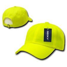 Neon Yellow Six Panel Polo Style Plain Blank Running Low Crown Baseball Cap Hat
