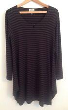 THE MASAI CLOTHING COMPANY black brown stripe jersey dip hem dress Lagenlook M