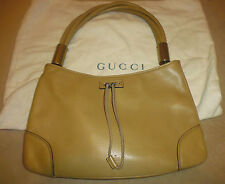 Authentic GUCCI Logos Shoulder Bag Shoppers Leather Beige Gold-Tone -  Italy