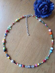 Pretty bright multicoloured rainbow beaded necklace ~ hippy love beads boho chic